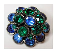 1960s Rhinestone Brooch Round with Green & by TimeEnoughAtLast