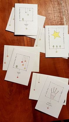 Only a picture but lovely idea - Carte - Noel Christmas Card Crafts, Homemade Christmas Cards, Christmas Cards To Make, Xmas Cards, Christmas Art, Diy Cards, Handmade Christmas, Homemade Cards, Holiday Cards