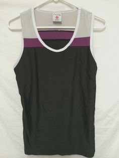 662a6a218903 Curves gym womens large tank top fitness shirt black   purple running  workout