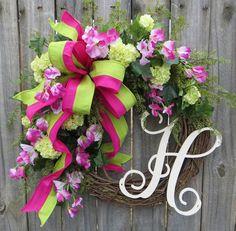 Front Door Wreath, Spring Wreath / Summer Wreath, Monogram Letter Wreath, Pink and Green Front Door Wreath with Sweet Pea, Etsy Wreath