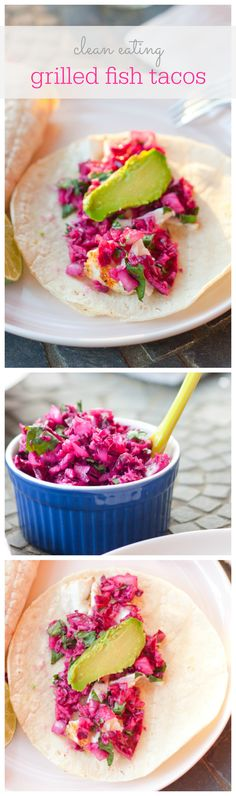clean eating fish tacos with a honey dijon red cabbage slaw #healthy