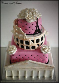 Cakes and Sweets: Colosseum, Pantheon och Eiffeltornet 4v tårta