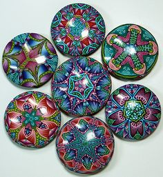 """Quilt Series"" Pendants by Carol Simmons"