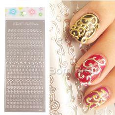 USD $1.99 1pc Embossed Texture Metal Style 3D Nail Art Sticker - BornPrettyStore.com