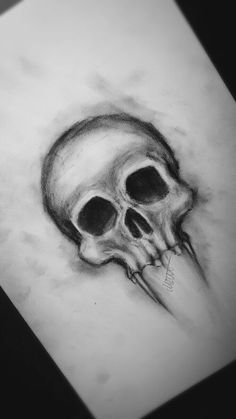 Charcoal Drawing Realistic Realistic Abnormal Skull Drawing in Charcoal Easy Pencil Drawings, Creepy Drawings, Dark Art Drawings, Art Drawings Sketches Simple, Drawing Ideas, Simple Skull Drawing, Easy Skull Drawings, Creepy Sketches, Easy Realistic Drawings
