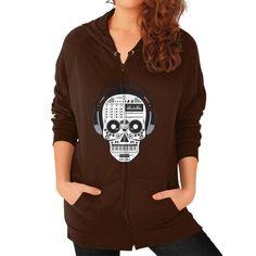 Skull DJ Zip Hoodie (on woman)