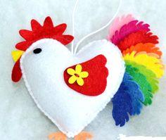 Felt rooster ornaments handmande felt ornaments chicken Housewarming/Christmas home decor Baby shower eco friendly New Year 2017 by KnittedThingsStudio on Etsy https://www.etsy.com/ca/listing/484286754/felt-rooster-ornaments-handmande-felt