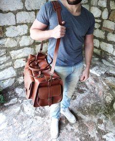 Apollo Travel Bag / Twininas Genuine Greek Leather Bag by Twininas Apollo Travel, Leather Bags, Leather Backpack, Handmade Jewellery, Ss 15, Duffel Bag, Travel Bag, Greek, Backpacks