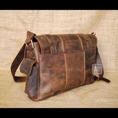 FHT Savanna Leather Messenger Bag Travel Shoulder Satchel