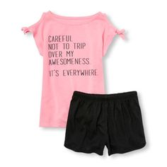 Girls Short Sleeve 'Careful Not To Trip Over My Awesomeness...It's Everywhere' Cold Shoulder Top And Dolphin Shorts PJ Set