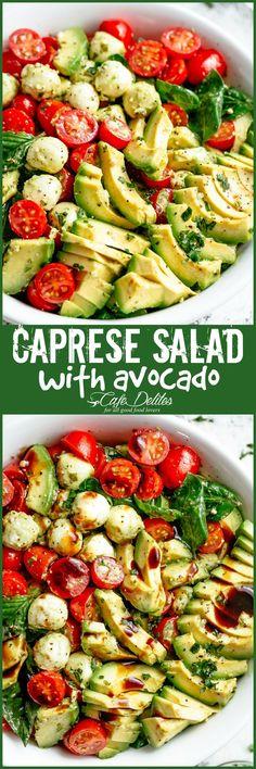 Caprese Salad with Avocado - Cafe Delites