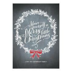 Chalkboard Wreath Red Ribbon Holiday Card