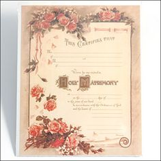 Victorian marriage certificate