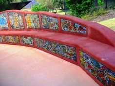 The Numbellie Seats at Ipswich Queens Park - Mosaic Community Project by Sandy Robertson Studio OzMosaics Brisbane.