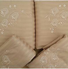 Jogo de cama 500 fios algodão egípcio , adamascado na cor bege
