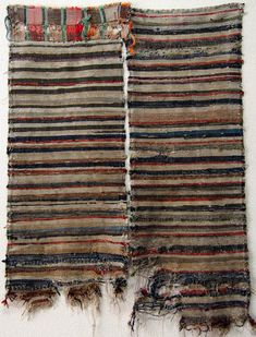 Old Japanese Handmade Patched Cotton Sakiori Rag Weave Textiles (2), Nicely Faded Fragments.....E-Sakiori-415
