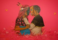 "Pure love ""sac-nicté & canek"" mural part of the exhibition at photo by Murals Street Art, Mural Art, Street Art Graffiti, Art And Illustration, People Illustration, Latin Artists, Mexican Artists, Aztec Art, Magic Realism"