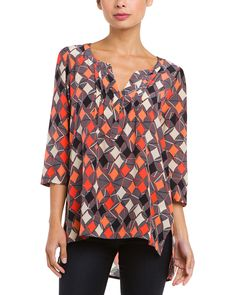 Spotted this plenty by Tracy Reese Peasant Kurta Kite Trellis Silk Blouse on Rue La La. Shop (quickly!).