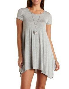 Heather Gray Jersey Knit Trapeze T-Shirt Dress by Charlotte Russe