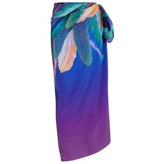 Gottex Feather Print Silk Pareo (345 CAD) ❤ liked on Polyvore featuring swimwear, cover-ups, bikini cover ups, bikini bathing suits, sarong beach cover up, sarong cover up and swim suit cover up