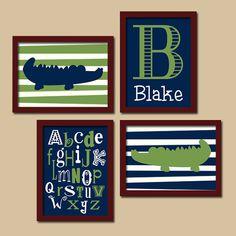 Alligator Boy Navy Blue Green Monogram Alphabet Set of 4 Prints Wall Baby Decor Art Crib Nursery Pottery Barn
