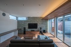 Living Room Home Theater, Home And Living, New Ceiling Design, Kitchen Living, My Dream Home, Indoor Outdoor, Decoration, House Design, Interior Design