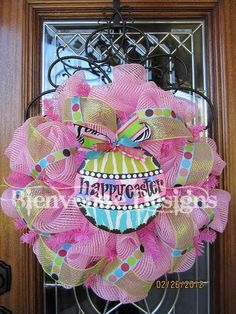 Pink HAPPY EASTER Mesh Wreath by lesleepesak on Etsy, $75.00