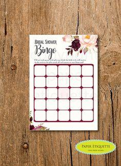10% Sale Bridal Bingo  INSTANT UPLOAD Bridal Shower Game