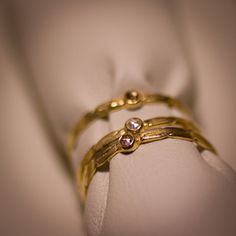 """You can wear one, or all three! Petit """"rose cut"""" diamond stackers, 24kt Gold plated Silver. Oh la la…"""