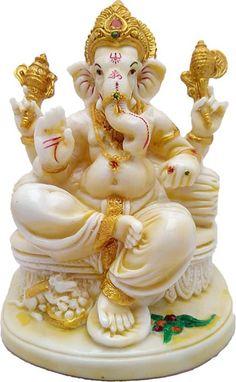 Art N Hub Marble Look Hindu God Shri Ganesh statue lord Ganesha idol Bhagwan Ganpati Handicraft Decorative Spiritual Puja vastu showpiece Figurine - Religious Pooja Gift item & Murti for Mandir / Temple / Home Decor / Office Showpiece - 20 cm Jai Ganesh, Ganesh Lord, Ganesh Idol, Krishna Statue, Ganesha Drawing, Lord Ganesha Paintings, Lord Shiva Painting, Ganesha Art, Shiva Art