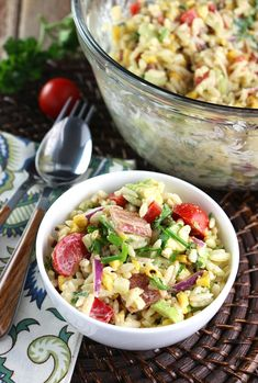 Orzo Bacon and Charred Corn Salad with Chili-Lime Dressing