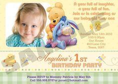 Winnie the pooh 1st  Birthday Invitations by EqPartyInvitations, $12.00