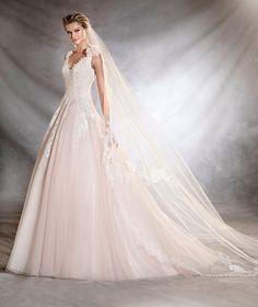 OANA - Vestido de novia de estilo princesa y escote pico