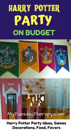 Harry Potter Party Ideas. Cheap, easy ideas anyone can do. DIY Harry Potter decorations, fun games, easy party food, cool party favors. Everything you need for hosting a fun Harry Potter party for your girl or boy. A great party theme for teens.