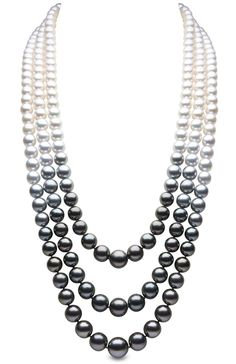 Twilight Triple Strand Pearl Necklace  Color graduates from white to grey to black on this triple-strand necklace, featuring Tahitian, South Sea, and Akoya pearls. From Yoko London's Twilight collection.  18k white gold 9-13mm Tahitian, South Sea, and Akoya pearls