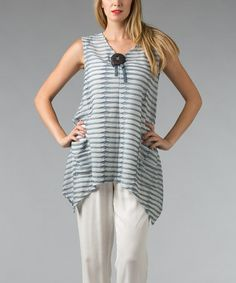 Loving this Chambray & White Stripe Sidetail Top on #zulily! #zulilyfinds