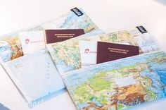 Reisedokumentenhüllen aus Atlasseiten / Travel documents cover made from pages of an old atlas