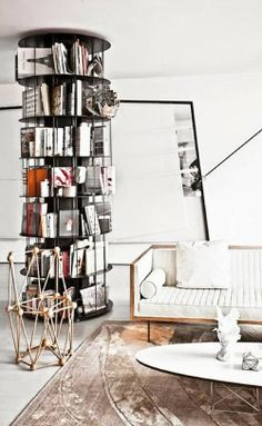 greige: interior design ideas and inspiration for the transitional home......cool bookcase!!