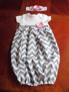 Baby Layette Baby Gown Set Gray Chevron with by mariahcreations