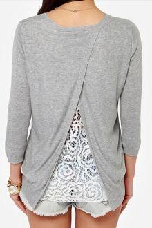 Long Sleeve Lace Spliced Back Slit Gray T-Shirt