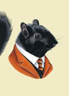 Black squirrel print - Berkley Illustration