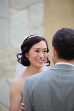 This bride can't help but beam with happiness at the altar. A smoky eye and a flushed cheek are a great combo for her. Bridal Makeup, Bridal Hair, San Diego Wedding, Smoky Eye, Wedding Make Up, Altar, Straight Hairstyles, Wedding Hairstyles, Curly Hair Styles