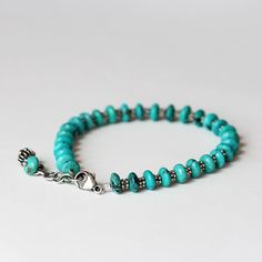 Smooth Turquoise and Sterling Silver Beaded Bracelet by TheGoosle
