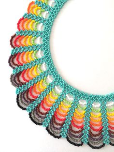 Woven Necklace made of seed beads. Colorful handmade necklace.
