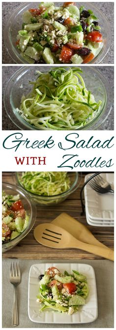 Low Carb Greek salad is a great way to use up garden vegetables. Toss the basic ingredients in Greek salad dressing then serve over fresh gluten free zucchini zoodle noodles. Salad Recipes Low Carb, Zoodle Recipes, Spiralizer Recipes, Ketogenic Recipes, Paleo Recipes, Cooking Recipes, Budget Recipes, Donut Recipes, Low Carb Side Dishes
