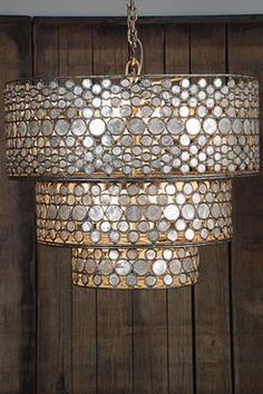 Callie Cascading Three Tiered Round Metal Chandelier Inlaid with Capiz Shells Canopy Included Without Chain