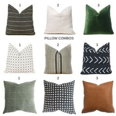The one question we get asked the most by our customers is how to put pillow combos together. Learn some tips on how to pair great decor pillow combos for your space! Green Pillows, Couch Pillows, Green Pillow Covers, Bolster Pillow, Neck Pillow, White Furniture, Furniture Design, Furniture Showroom, Lounge Furniture