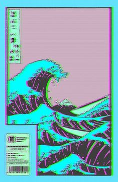 The Great Wave off Vaporwave Kanagawa Sticker- Redbubble - Iphone Wallpaper Trippy Wallpaper, Iphone Background Wallpaper, Retro Wallpaper, Chill Wallpaper, Purple Wallpaper, Wallpaper Pictures, Flower Wallpaper, Aesthetic Backgrounds, Aesthetic Iphone Wallpaper