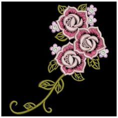Wind Bell Embroidery Embroidery Design: Creative Rose 3.82 inches H x 3.42 inches W