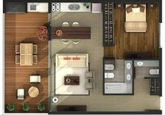 Small Studio Apartment Layout Design Ideas - home design Studio Apartment Layout, Small Studio Apartments, Studio Layout, Cool Apartments, Apartment Design, Apartment Ideas, Layouts Casa, House Layouts, Small House Layout